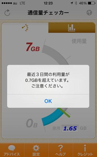 テザリング 7GB
